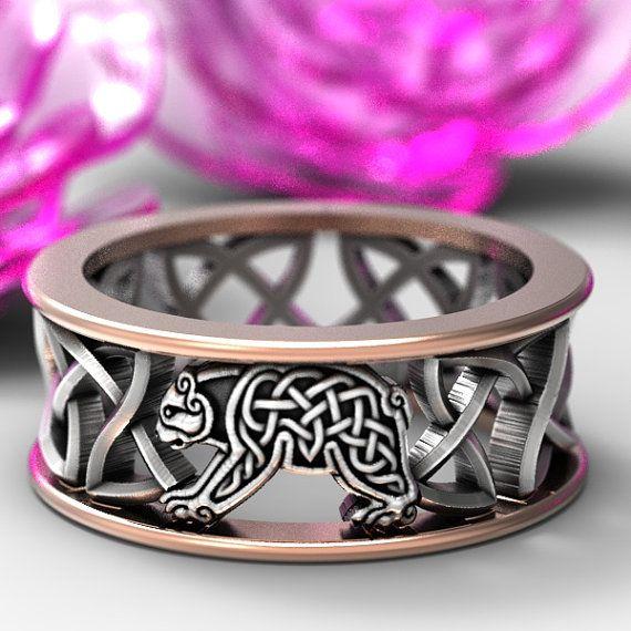 Sterling Silver & Gold Bear Wedding Band, Celtic Bear Ring, Mens Wedding Band, 10K 14K 18K Gold and Silver Custom Size CR-1126