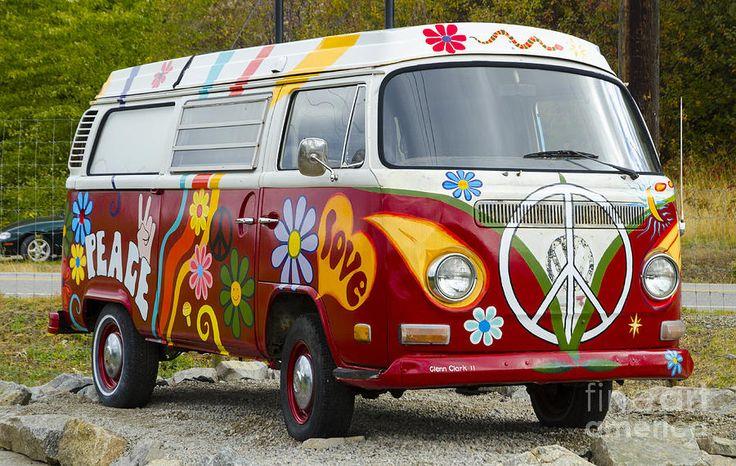 1960s vw hippie van canvas print canvas art by michael. Black Bedroom Furniture Sets. Home Design Ideas