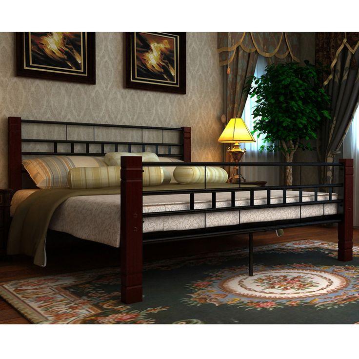 Metal Wood Bed Frame Guest Bedroom Sleeper Modern Design Furniture Strong Legs  #MetalWoodBedFrame