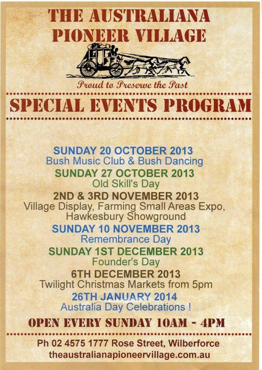#APV #Australianapioneervillage special event days #bushmusic #bushband #bushdancing #hawkesburyshowground expo #remembranceday #foundersday #twilightmarkets #AustraliaDay