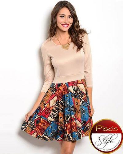 Vestido bicolor con falda estampada solo aquí en nuestra boutique online Piscis Style, Tu Tendencia Fashion.