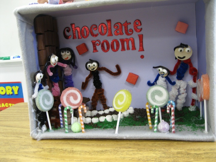 """After reading Charlie and Chocolate Factory, my students recreate their favorite room from the book in a diorama.  The materials that they use are of their choosing.  They are not allowed to base it on the movie. No two """"Chocolate Rooms"""" are every the same.  They also write a small paper to go along with the project. They write about the materials that they used and the process in which they made the project.  This is a great way to reinforce """"strong"""" verbs and """"colorful"""" adjectives."""