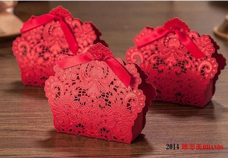 mariage creative rouge creux fleur bonbons paper box cut favor cadeaux bonbonière mariage romantique titulaires