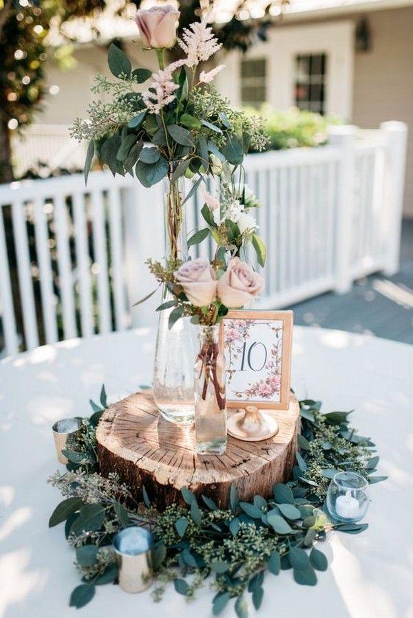 18 schicke rustikale Hochzeits-Mittelstücke mit Baumstümpfen