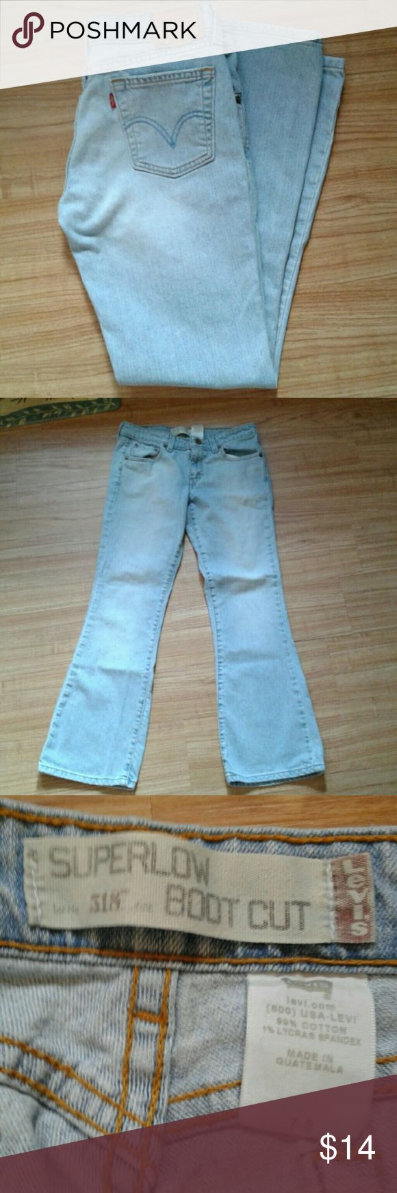 "Levis Superlow jr 7s Light wash. No flaws. Inseam approx 291/2"". 99%cotton, 1%lycra spandex blend Levi's Jeans Boot Cut"