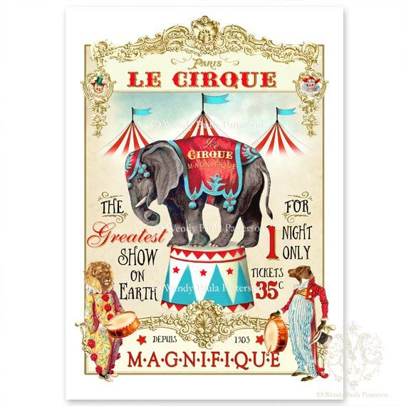 Circus elephant print. Nursery decor, wall art, A4 print.  Design and original artwork by Wendy Paula Patterson. A visual harmony of the past and