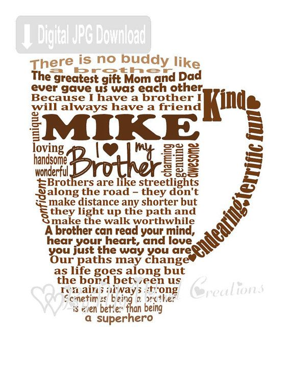 Brother Word Art Brother Coffee Mug Art Gift by ByMyWordCreations