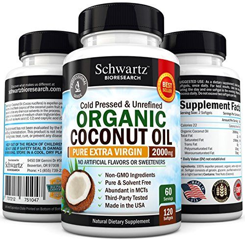 Organic Coconut Oil 2000mg Highest Grade Extra Virgin Coconut Oil for Skin Healthy Weight Loss Hair Growth Cold Pressed  NonGMO Coconut Oil Capsules Unrefined Coconut Oil Rich in MCFA and MCT * Details can be found by clicking on the image.