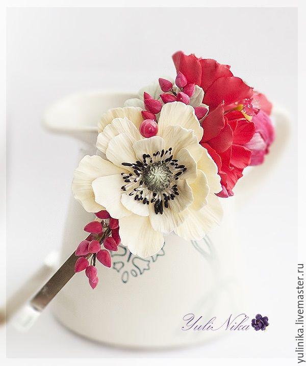 Купить Обруч для кораллового наряда - коралловый, анемоны, ягоды, Сваровски, айвори, обруч с цветами, для фотосессий
