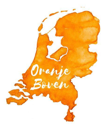Nieuw in mijn Werk aan de Muur shop: Oranje Boven - Landkaart van Nederland.