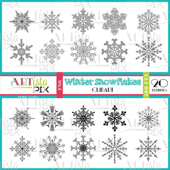 Snowflake Clipart Winter Clipart Digital Download Instant
