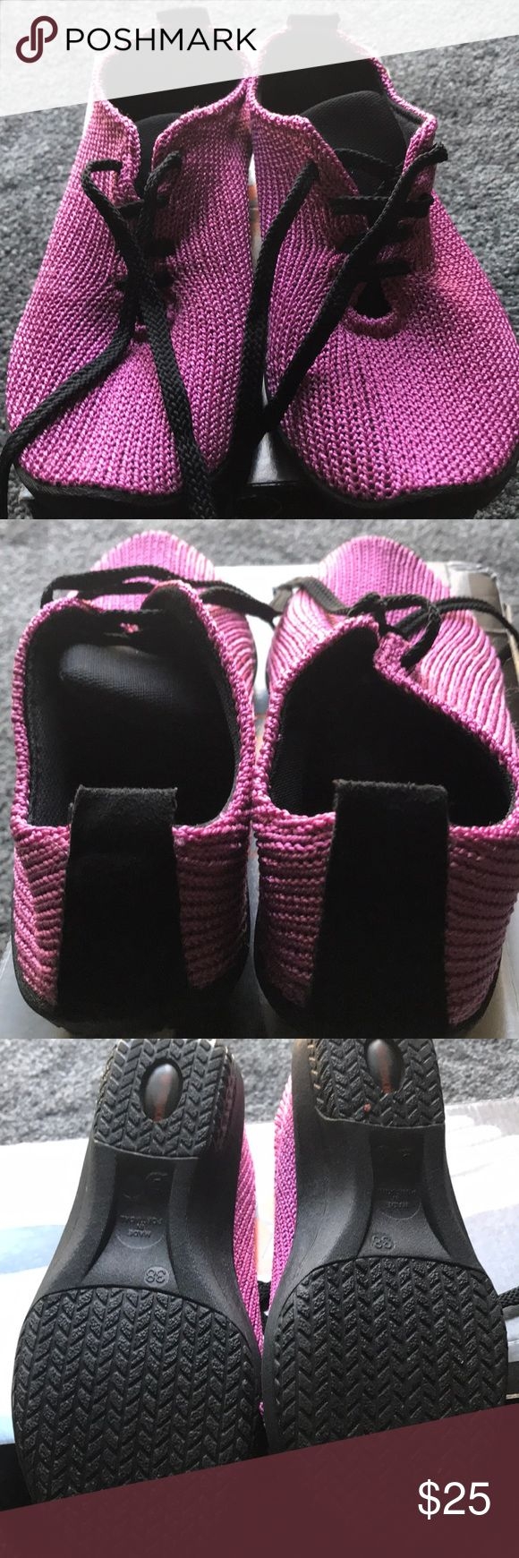 Lace up knit Fuschia shoes Knit lace ups by A'RCOPEDICO.  Good Condition.  Worn twice. Shoes Flats & Loafers