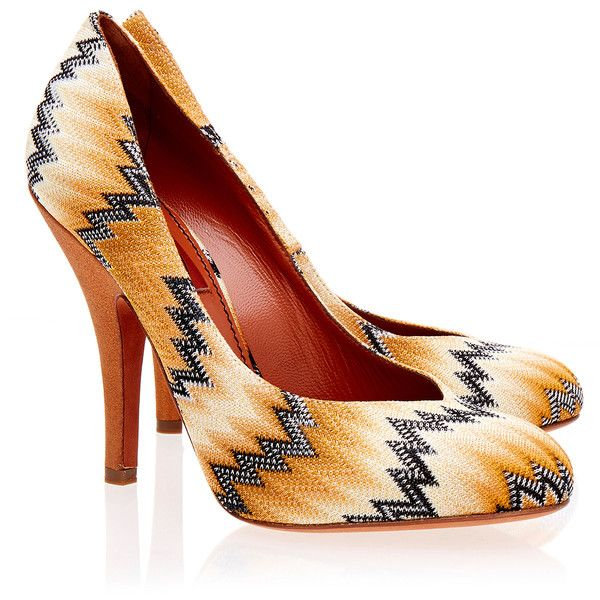 Missoni Crochet-Knit Multi Coloured Court Shoe ($235) ❤ liked on Polyvore featuring shoes, pumps, orange, missoni shoes, multi colored shoes, multi color shoes, slipon shoes and crochet shoes
