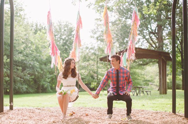 just a fun pic....love the decorated swings :)