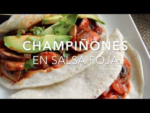 Tacos de champiñones en salsa roja (saludable y rápido)
