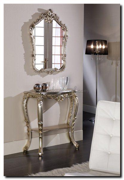Venetiaanse barok spiegel kuifspiegel zilveren lijst