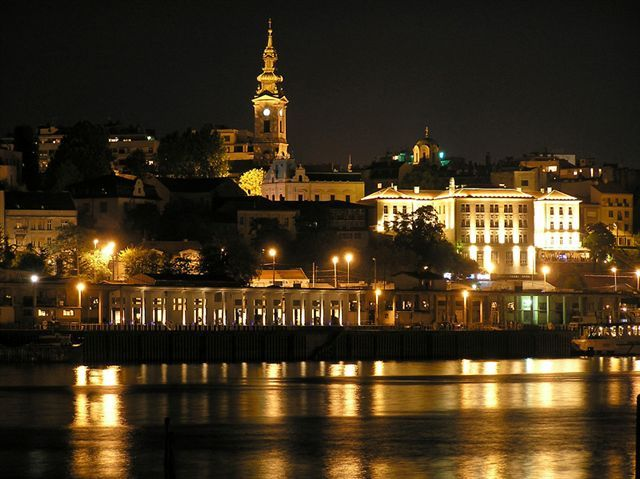 Belgrade at Night. The Kalemegdan Fortress seen across the Sava River, one of the two in the City. All cities are more beautiful in the night. Belgrade more than any other.