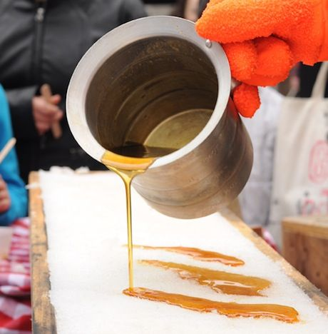 Tire sur neige (Maple syrup on snow), is a typical French-Canadian tradition. It is most often served at a Cabane à sucre (Sugar Shack). The warm maple syrup is poured over clean snow, & becomes soft taffy that is wound onto to sticks & savored.