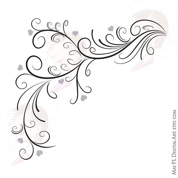 Wedding Graphics: Wedding Clipart Retro Elegant Flourish Curly Borders Swirl