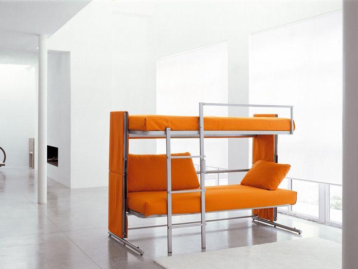 Диван-трансформер в двухъярусную кровать: 70 максимально удобных и практичных идей для вашей квартиры http://happymodern.ru/divan-dvuxyarusnaya-krovat-transformer-cena/ Оранжевый диван Cabrio в виде двухъярусной кровати