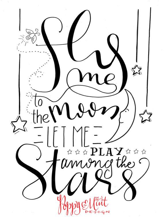 Fly me to the moon...let me play among the stars... - Frank Sinatra  A perfect print to hang above your babys crib :)  **P&MD logo will not be