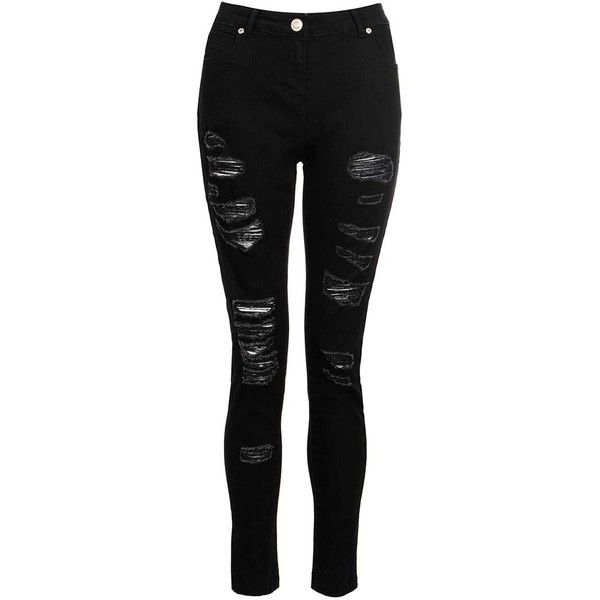 Dorothy Perkins *Quiz Black Ripped Skinny Jeans (£39) ❤ liked on Polyvore featuring jeans, pants, bottoms, blue, distressed jeans, skinny leg jeans, destroyed jeans, destructed jeans and denim skinny jeans