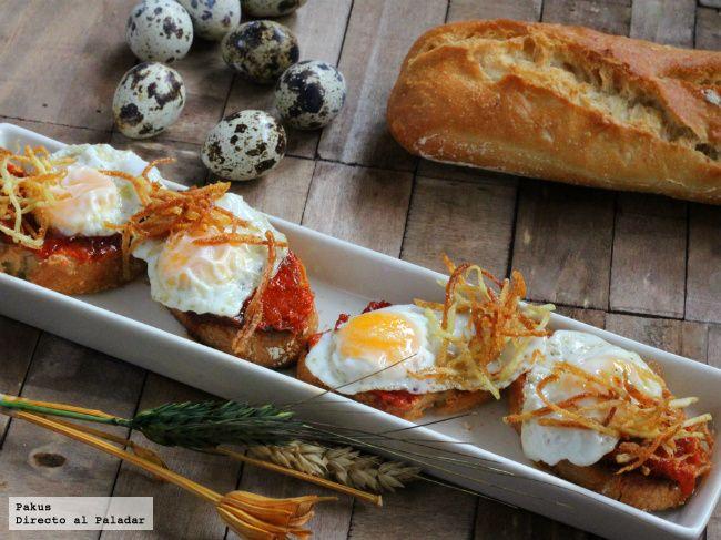 Pinchos de huevo de codorniz con sobrasada. Receta con fotos paso a paso de elaboración y presentación. Truco para abrir huevos de codorniz. Receta de aperit...