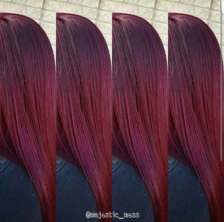 Burgundy maroon violet hair color. Goldwell 6vv 3vv by @majestic_mess