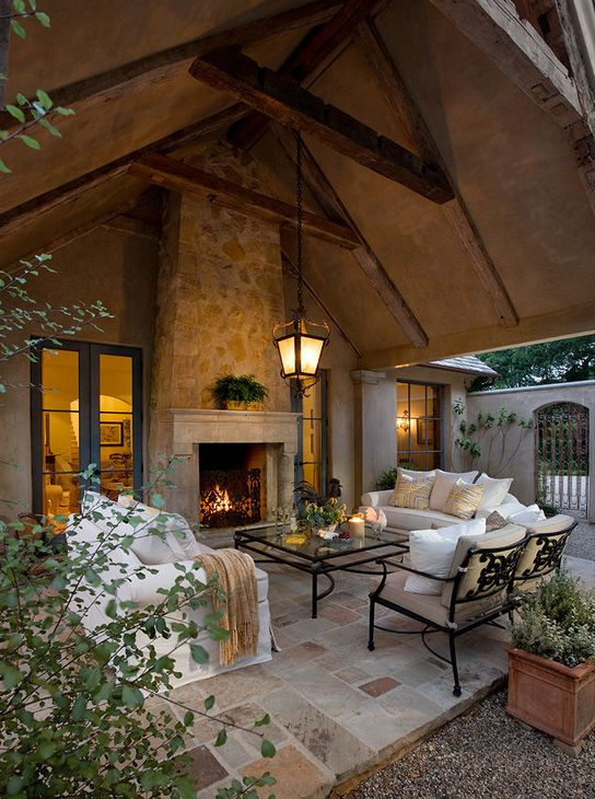 Outdoor Fireplace and living room - so pretty