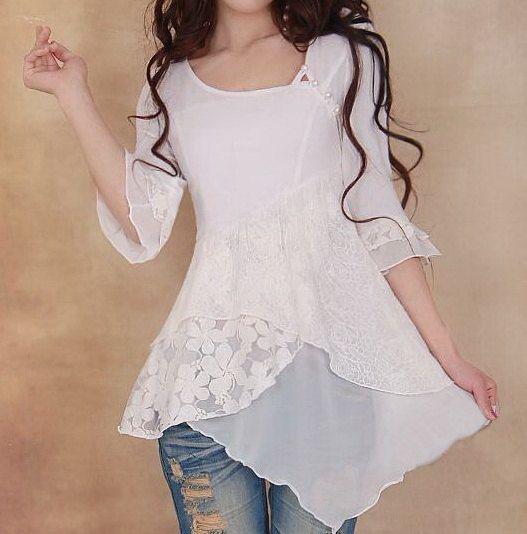 blusa blanca cruzada adelante
