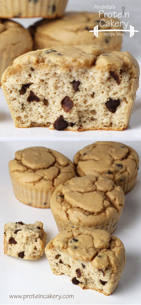 Chocolate Chip Protein Muffins! Andréa's Protein Cakery high protein recipes - low carb muffins, gluten free muffins