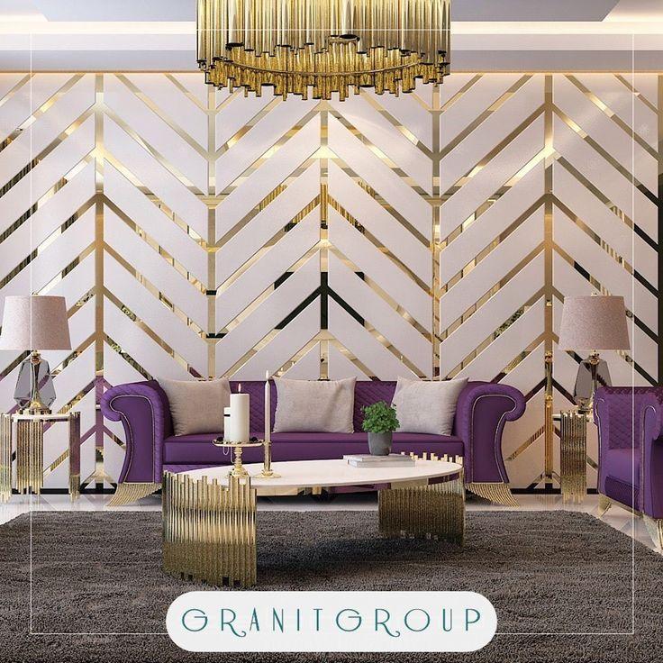 ديكور كروم مع ورق حائط صالة مودرن في إسطنبول Interior Design Design House Styles