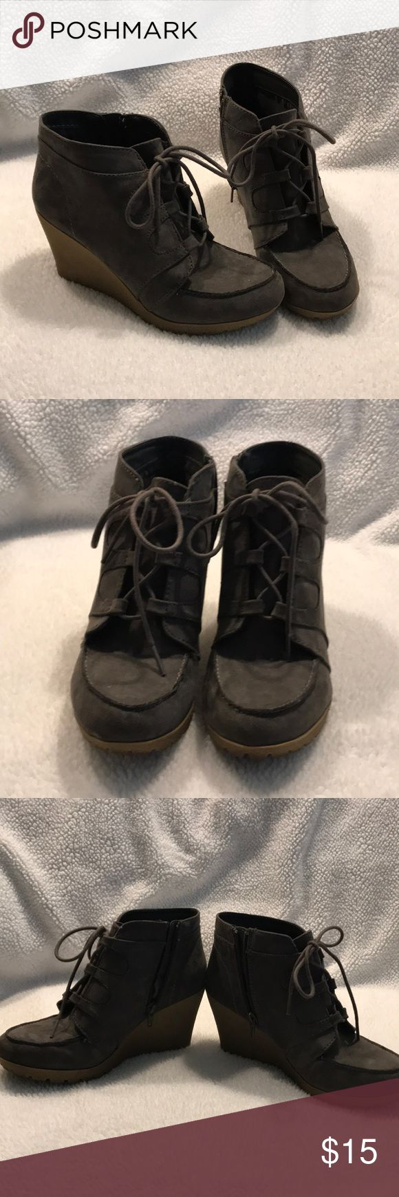 """Gray wedge heels Excellent used condition lace up wedges Zipper on side 3"""" heel Maurices Shoes Wedges"""