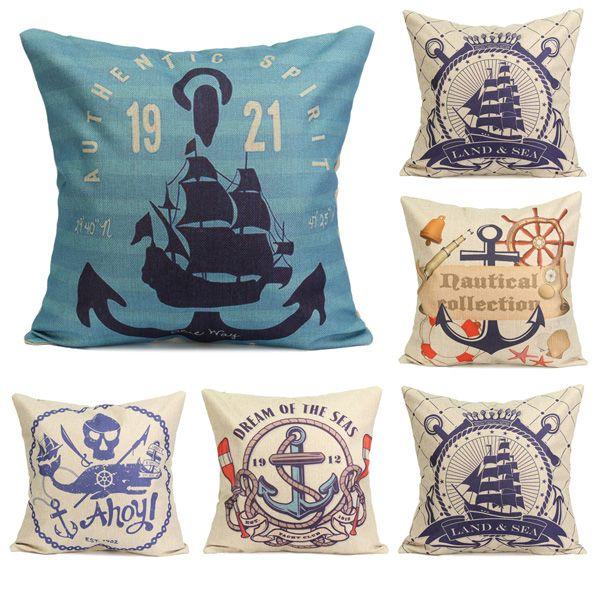 Nautical Series Mediterranean Style Throw Pillow Case Square Home Sofa Cushion Cover