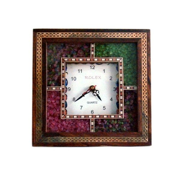 Antique Handcrafted Gemstone Wooden Wall Clock 189