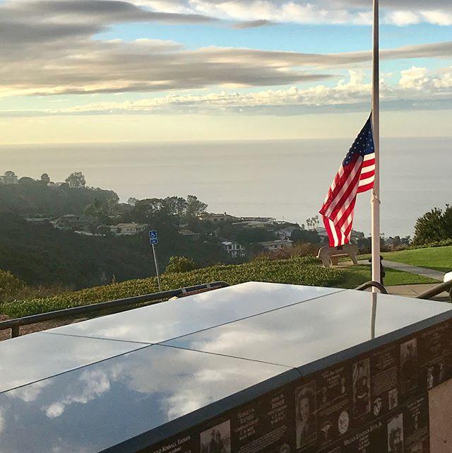 Mt Soledad. Flag at half mast. #sandiego #mtsoledadnationalveteransmemorial #flag #memorial #lajolla #cross #lajollalocals #sandiegoconnection #sdlocals - posted by Michael Jones  https://www.instagram.com/hornofzeese. See more post on La Jolla at http://LaJollaLocals.com
