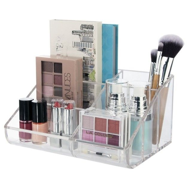 This simple makeup caddy is a great place to keep your ~nudes~: | 11 Makeup And Toiletry Organizers People Actually Swear By