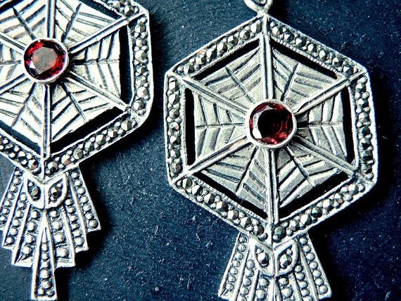 Art deco earrings Greek Jewelry antique silver by CarmelaRosa