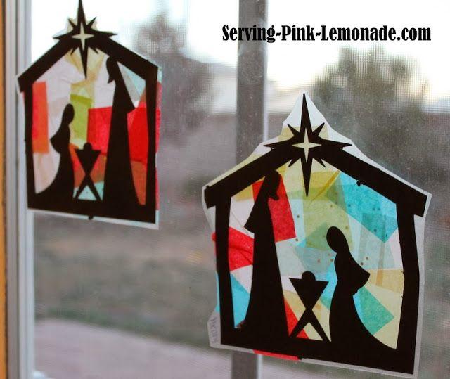Raamhanger vloeipapier kerststal