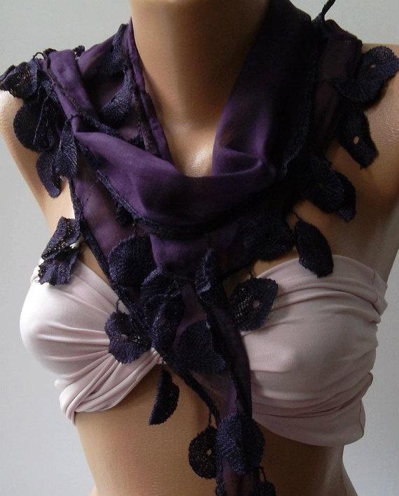 Purple   Elegance Shawl / Scarf with Lacy Edge by womann on Etsy, $9.90