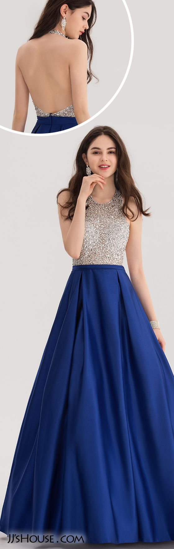 Ball-Gown Halter Floor-Length Satin Prom Dress With Beading Sequins#JJsHouse #Prom dresses