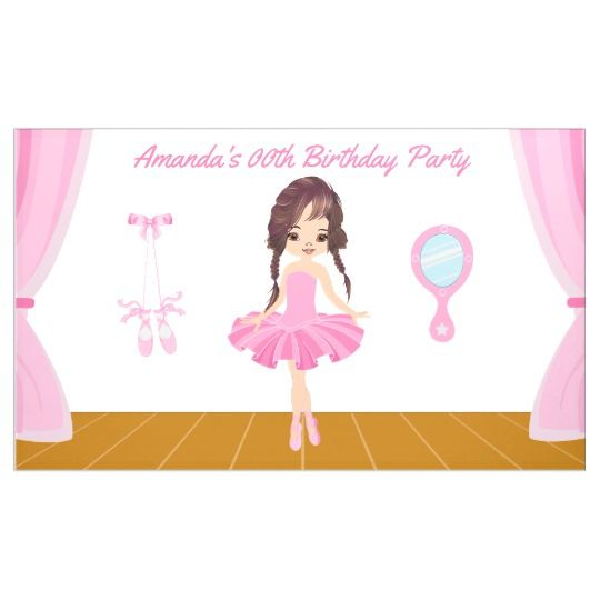 Pink Ballerina themed Birthday Party personalized Banner