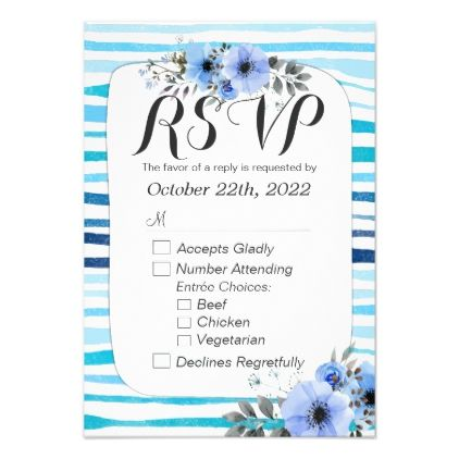 #stripes - #Watercolor Floral Blue Stripes Wedding RSVP Reply Card