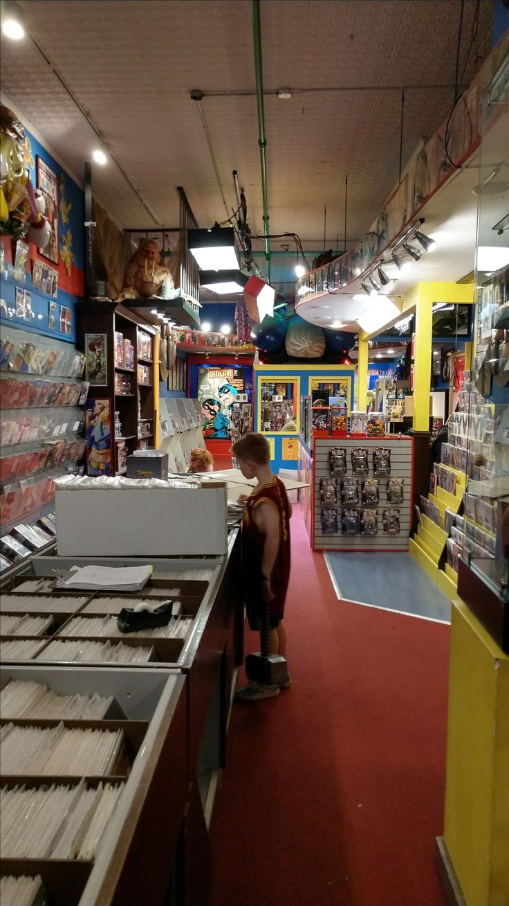The interior of Jay and Silent Bob's Secret Stash comic book & novelty store in Red Bank, New Jersey. One scene from Kevin Smith's film Jay and Silent Bob Strike Back with Smith, Jason Mewes, and Jason Lee was filmed in the store. In the far back, through the window, the man in the green shirt is Walt Flanagan, a lifelong friend and collaborator of Smith who manages the store & also stars in the AMC series Comic Book Men.