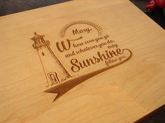 Lighthouse Personalized Anniversary Cutting Board Cheese Board Wedding Present Hostess or Birthday Gift Retirement Coworker Present
