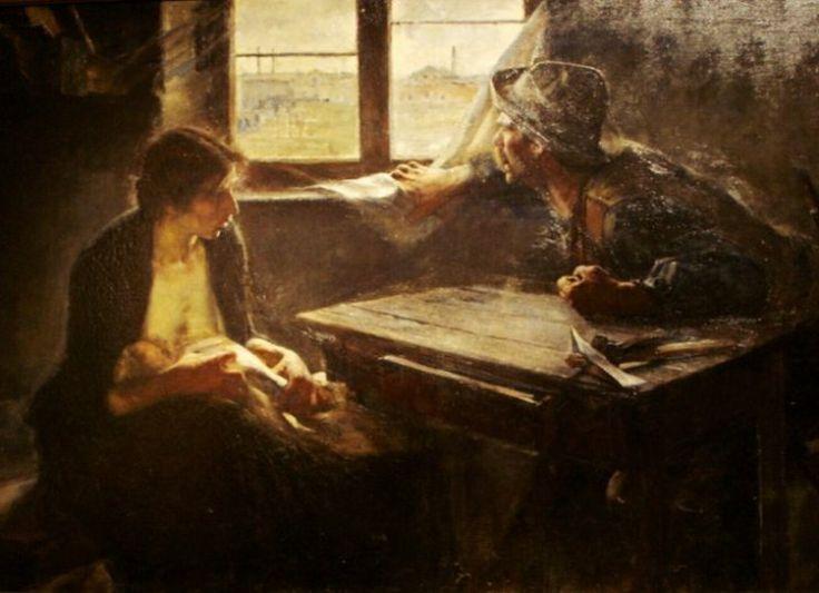 """Ernesto de la Cárcova su obra más reconocida """"Sin pan y sin trabajo""""   constituyó una vibrante reacción contra el academicismo no sólo por su tema, patético e impresionante, sino también por la técnica de modelar mediante el color-."""
