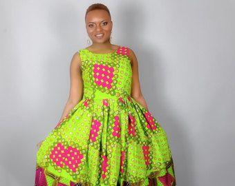Robe mi-longue imprimé africain fabriqué à partir de vêtements africains impression cire authentique, wax africain, robes, robes africaines, robes Ankara