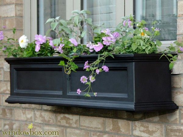 Black Window Boxes make brownstone and craftsman homes really pop. These self-watering planters hang right outside your windows or on a fence for a rot-free hanging garden that takes care of itself! #gardening #windowboxes #easygardeningidea
