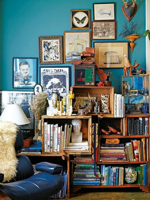 what a dream cornerWall Colors, Bookshelves, Blue Wall, Living Room, Bookcas, Book Shelves, Wall Colours, Gallery Wall, Bohemian Home