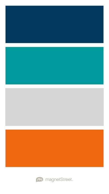 Navy, Teal, Silver, and Orange Wedding Color Palette - custom color palette created at MagnetStreet.com